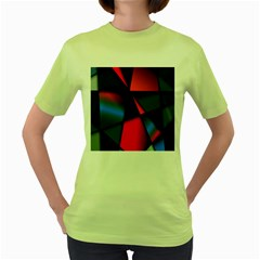 3d And Abstract Women s Green T Shirt