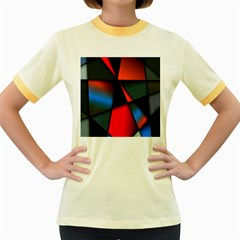 3d And Abstract Women s Fitted Ringer T-Shirts