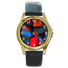 3d And Abstract Round Gold Metal Watch