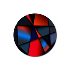 3d And Abstract Rubber Round Coaster (4 Pack)