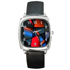 3d And Abstract Square Metal Watch
