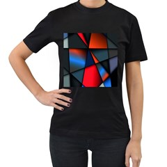 3d And Abstract Women s T-Shirt (Black) (Two Sided)