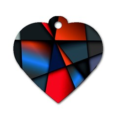 3d And Abstract Dog Tag Heart (one Side)