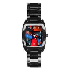 3d And Abstract Stainless Steel Barrel Watch