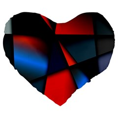 3d And Abstract Large 19  Premium Flano Heart Shape Cushions