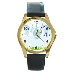 Baby Boy Clothes Line Round Gold Metal Watch