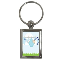 Baby Boy Clothes Line Key Chains (Rectangle)
