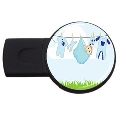 Baby Boy Clothes Line USB Flash Drive Round (1 GB)