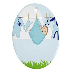 Baby Boy Clothes Line Oval Ornament (Two Sides)