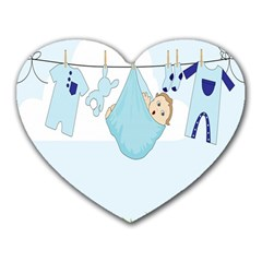 Baby Boy Clothes Line Heart Mousepads