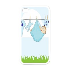 Baby Boy Clothes Line Apple iPhone 4 Case (White)