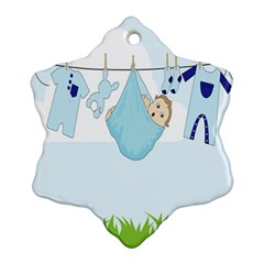 Baby Boy Clothes Line Snowflake Ornament (Two Sides)