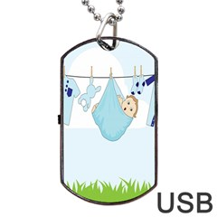 Baby Boy Clothes Line Dog Tag USB Flash (One Side)