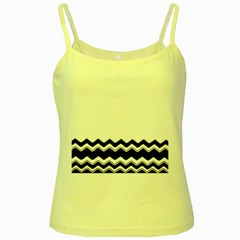 Chevrons Black Pattern Background Yellow Spaghetti Tank