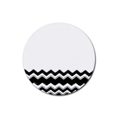 Chevrons Black Pattern Background Rubber Round Coaster (4 pack)
