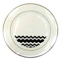 Chevrons Black Pattern Background Porcelain Plates