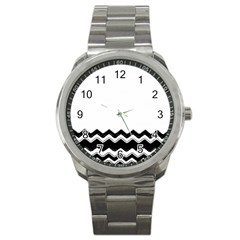 Chevrons Black Pattern Background Sport Metal Watch