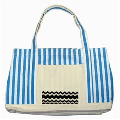 Chevrons Black Pattern Background Striped Blue Tote Bag