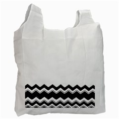 Chevrons Black Pattern Background Recycle Bag (two Side)