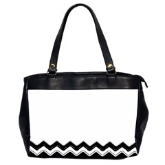 Chevrons Black Pattern Background Office Handbags (2 Sides)