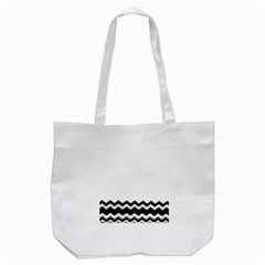 Chevrons Black Pattern Background Tote Bag (White)