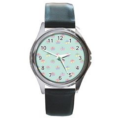 Butterfly Pastel Insect Green Round Metal Watch