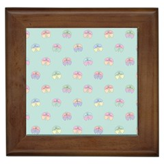 Butterfly Pastel Insect Green Framed Tiles