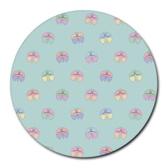 Butterfly Pastel Insect Green Round Mousepads