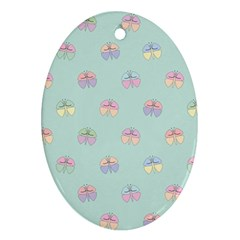 Butterfly Pastel Insect Green Ornament (Oval)
