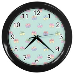 Butterfly Pastel Insect Green Wall Clocks (Black)