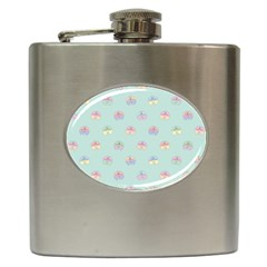 Butterfly Pastel Insect Green Hip Flask (6 oz)