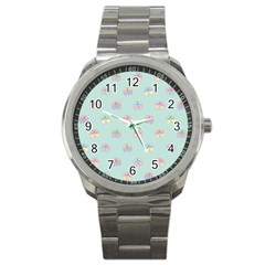 Butterfly Pastel Insect Green Sport Metal Watch
