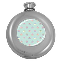 Butterfly Pastel Insect Green Round Hip Flask (5 oz)