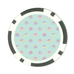 Butterfly Pastel Insect Green Poker Chip Card Guard