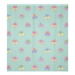 Butterfly Pastel Insect Green Shower Curtain 66  x 72  (Large)
