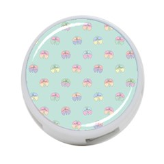 Butterfly Pastel Insect Green 4-Port USB Hub (Two Sides)