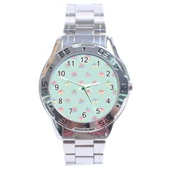 Butterfly Pastel Insect Green Stainless Steel Analogue Watch