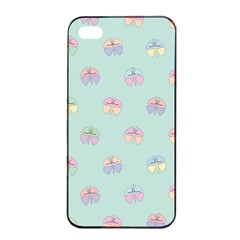 Butterfly Pastel Insect Green Apple iPhone 4/4s Seamless Case (Black)