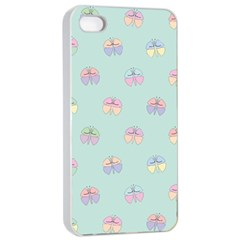 Butterfly Pastel Insect Green Apple iPhone 4/4s Seamless Case (White)