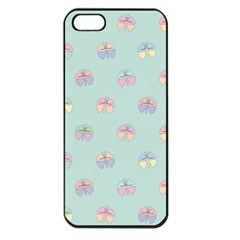 Butterfly Pastel Insect Green Apple iPhone 5 Seamless Case (Black)