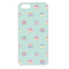 Butterfly Pastel Insect Green Apple iPhone 5 Seamless Case (White)