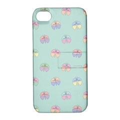 Butterfly Pastel Insect Green Apple iPhone 4/4S Hardshell Case with Stand