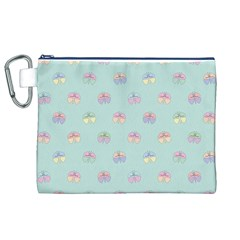 Butterfly Pastel Insect Green Canvas Cosmetic Bag (XL)