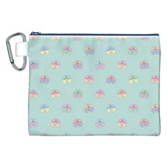 Butterfly Pastel Insect Green Canvas Cosmetic Bag (XXL)