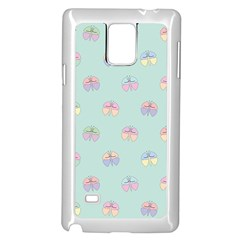 Butterfly Pastel Insect Green Samsung Galaxy Note 4 Case (White)