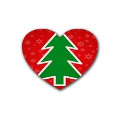 Christmas Tree Rubber Coaster (Heart)