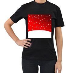 Christmas Background  Women s T-Shirt (Black) (Two Sided)