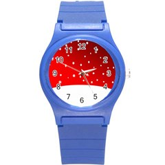 Christmas Background  Round Plastic Sport Watch (S)