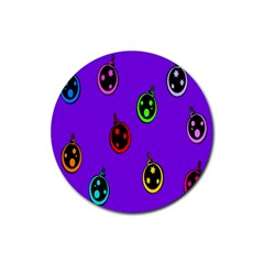 Christmas Baubles Rubber Coaster (Round)