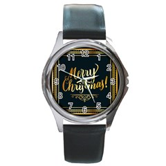 Christmas Gold Black Frame Noble Round Metal Watch